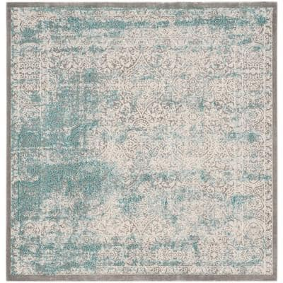 Passion Turquoise/Ivory 5 ft. x 5 ft. Square Border Area Rug