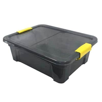 3.3 Gal. Storage Box Translucent in Grey Bin with Yellow with cover