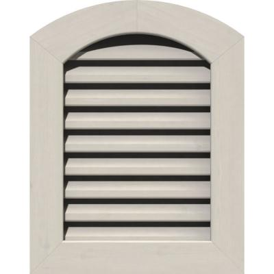17 in. x 37 in. Round Top Primed Smooth Pine Wood Paintable Gable Louver Vent