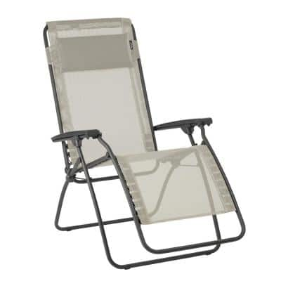 R-Clip in Seigle (Beige) Color with Steel Frame Folding Zero Gravity Reclining Lawn Chair