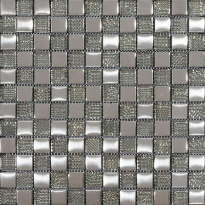 Hammerfest Metallic 11.81 in. x 11.81 in. Square Joint Polished & Brushed Glass Mosaic Wall Tile (0.97 sq. ft./Ea)