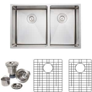 The Chefs Series Undermount Stainless Steel 30 in. Handmade 60/40 Double Bowl Kitchen Sink Package