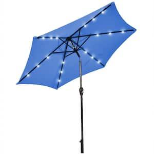 9 ft. Metal Market Solar LED Lighted Tilt Patio Umbrella in Navy with Crank