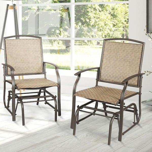 Costway 2 Person Brown Metal Outdoor, Outdoor Glider Chair Set