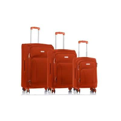 CHAMPS Traveler's 29 in.,25 in., 20 in. Orange Softside Luggage Set with Spinner Wheels (3-Piece)