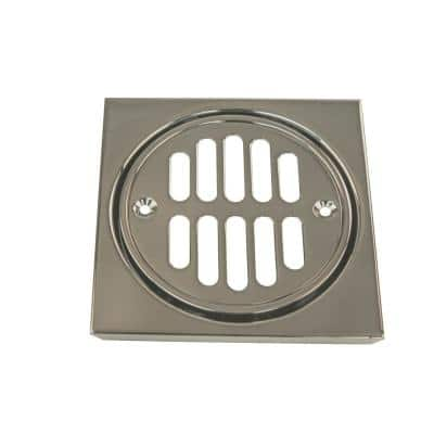 4-1/4 in. x 4-1/4 in. Shower Strainer Set Square with Crown in Satin Nickel