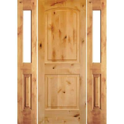 70 in. x 80 in. Rustic Unfinished Knotty Alder Arch-Top Left-Hand Double Half Sidelites Clear Glass Prehung Front Door