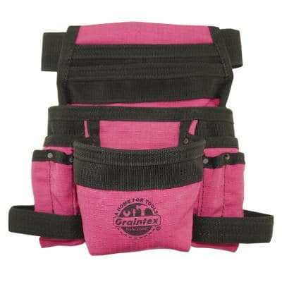 Pink Canvas 10-Pocket Finisher Tool Pouch with Belt