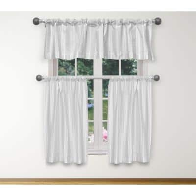 White-Silver Solid Rod Pocket Room Darkening Curtain - 15 in. W x 58 in. L (Set of 3)