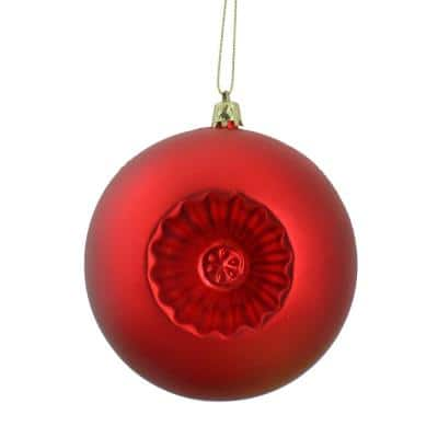 4 in. Matte Red Hot Retro Reflector Shatterproof Christmas Ball Ornaments (6-Count)