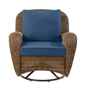 Beacon Park Brown Wicker Outdoor Patio Swivel Lounge Chair with CushionGuard Sky Blue Cushions