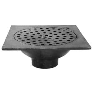 6 in. x 6 in. x 2 in. No Hub Cast Iron Bell Trap with Hinged Lid
