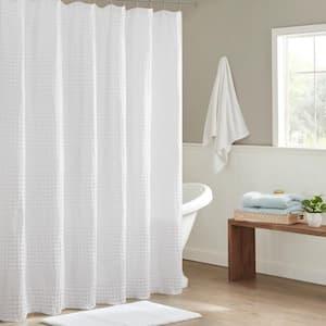 Eider White 72 in. Super Waffle Textured Solid Shower Curtain