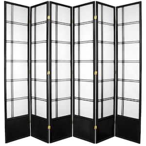 7 ft. Black 6-Panel Room Divider