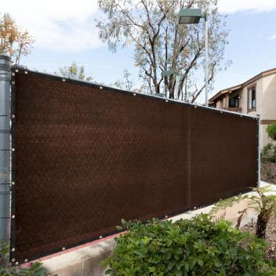 34 in. x 10 ft. Brown Mesh Fabric Privacy Fence Screen with Perimeter Stitched Edges and Grommets, Zip Ties Included