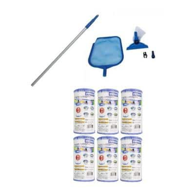 4.25 in. Maintenance Pool Kit with Vacuum and Pole and Type A Filter Cartridge (6-Pack)