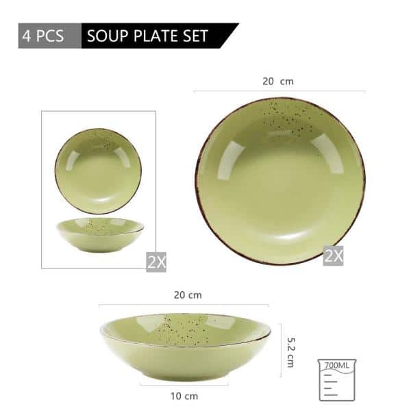 Vancasso 4 Piece Green Porcelain Salad Pasta Bowls And Soup Plates Dinnerware Set Service For 4 Vc Navia 10 Stp The Home Depot