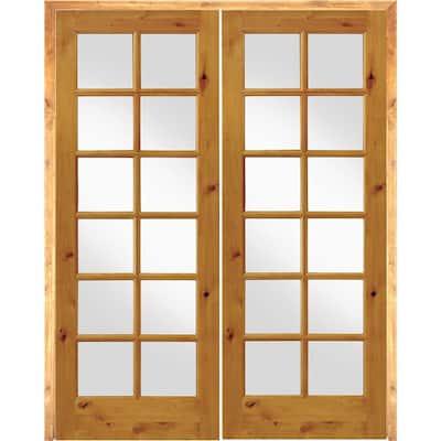 56 in. x 96 in. Rustic Knotty Alder 12-Lite Both Active Solid Core Wood Double Prehung Interior Door
