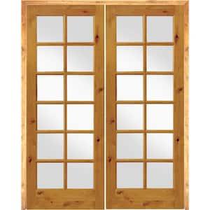 64 in. x 96 in. Rustic Knotty Alder 12-Lite Both Active Solid Core Wood Double Prehung Interior Door