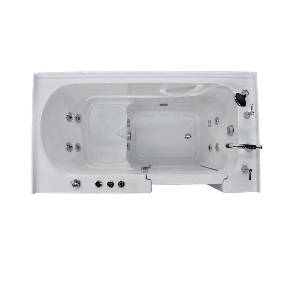 Universal Tubs Hd Series 60 In Right Drain Quick Fill Walk In Whirlpool Bath Tub With Powered Fast Drain In White Hd3260rwh The Home Depot