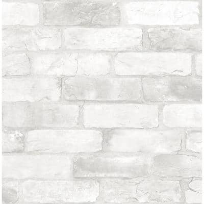 Loft White Brick Textured Peel & Stick Vinyl Strippable Wallpaper (Covers 30.75 sq. ft.)