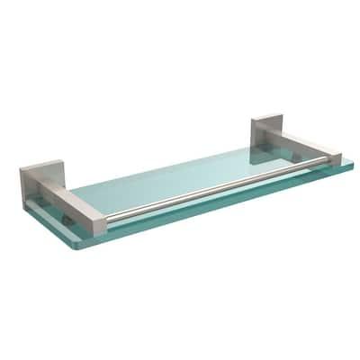 Montero 16 in. L  x 2 in. H  x 5-3/4 in. W Clear Glass Vanity Bathroom Shelf with Gallery Rail in Satin Nickel