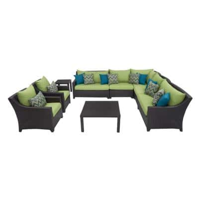 Deco 9-Piece Patio Corner Sectional and Club Chair Set with Ginkgo Green Cushions