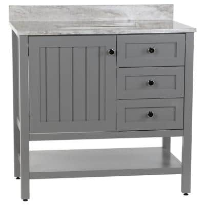 Lanceton 37 in. W x 22 in. D Bath Vanity in Sterling Gray with Stone Effects Vanity Top in Winter Mist with White Sink