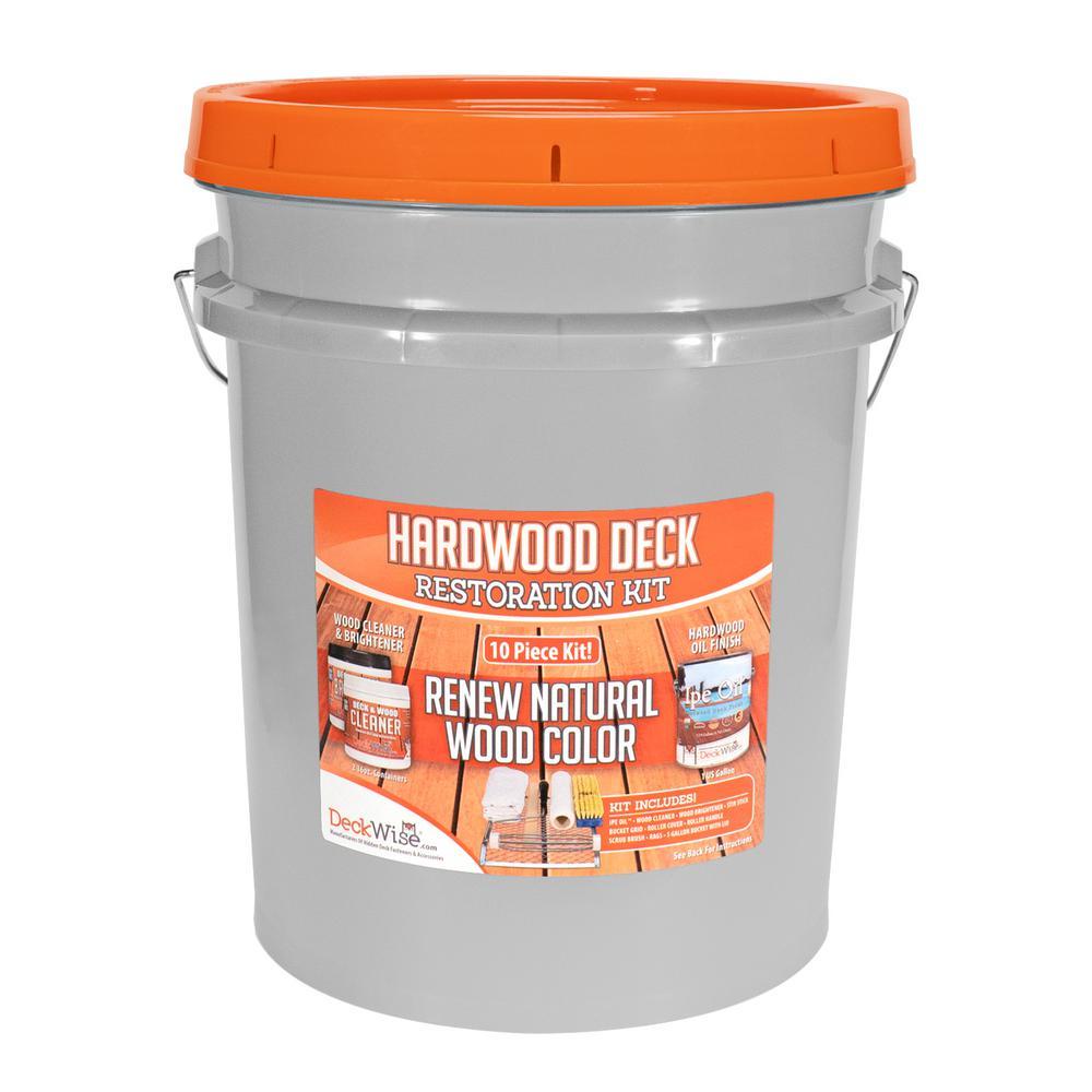 Hardwood Deck Restore Kit 1 gal. Ipe Oil Semi-transparent Exterior Stain, Cleaner and Brightener, Plus Tools (10-Piece)
