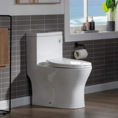 Elite 1-Piece 1.0/1.6 GPF High Efficiency Dual Flush Elongated All-in One Toilet with Soft Closed Seat included in White