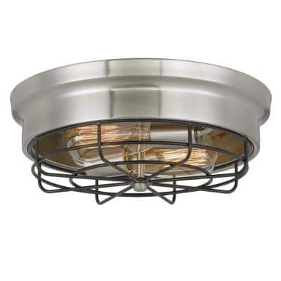 Bethpage 12.7 in. x 12 in. x 4.5 in. H 2-Light Brushed Nickel Canopy with Black Wire Frame Flush Mount
