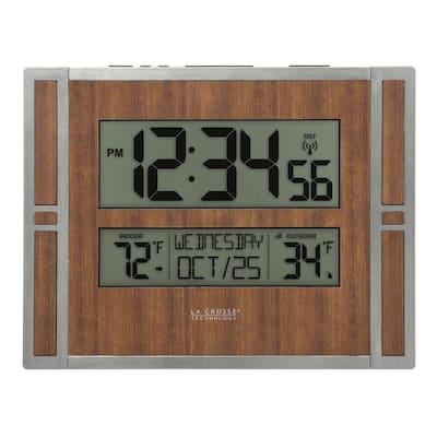 Atomic Digital Wall Clock with Indoor & Outdoor Temperature