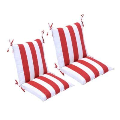 20 in. x 37 in. x 3 in. Red Cabana Stripe Outdoor Mid-back Dining Chair Cushion (2 Pack)