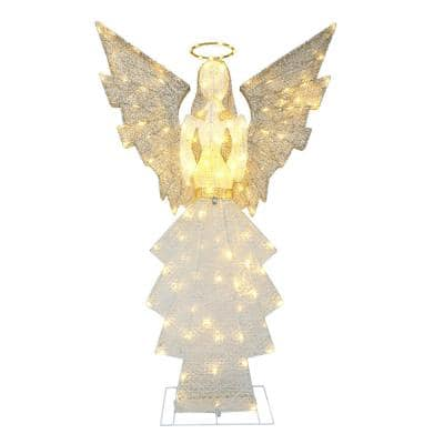60 in. 140-Lights Gold/White Outdoor Lighted Angel