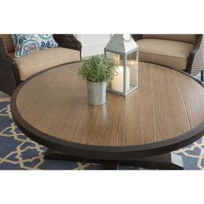 Grayson Brown Round Steel Outdoor Patio Coffee Table