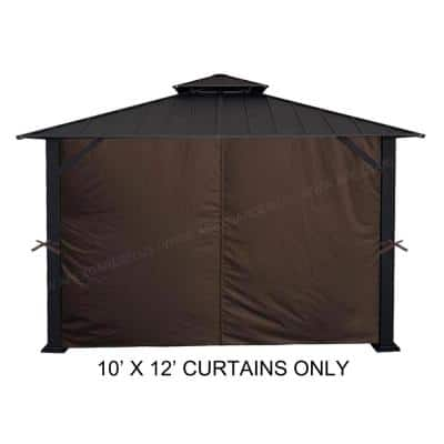 10 ft. x 12 ft. Brown Universal Privacy Curtain for Gazebo (4-Sides Curtain Only)