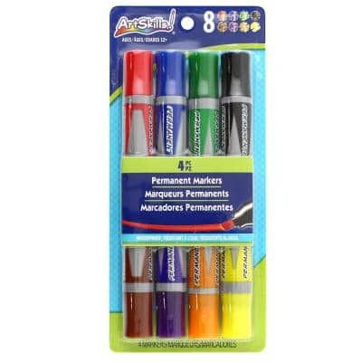 Dual-Ended Chisel Tip Permanent Sign and Poster Markers, 8 Colors (4 Pieces)