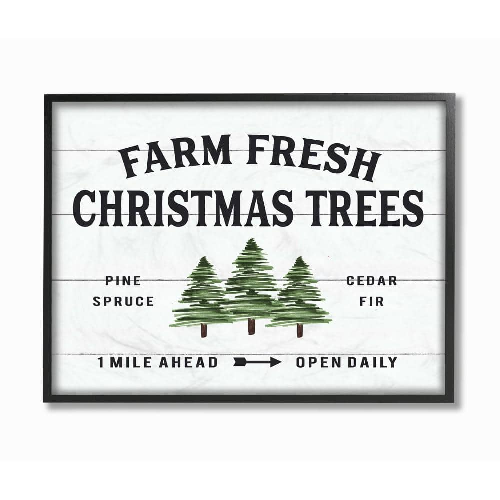 Stupell Industries 11 In X 14 In White Holiday Farm Fresh Christmas Trees Spruce And Fir By Artist Lettered And Lined Framed Wall Art Hwp 278 Fr 11x14 The Home Depot