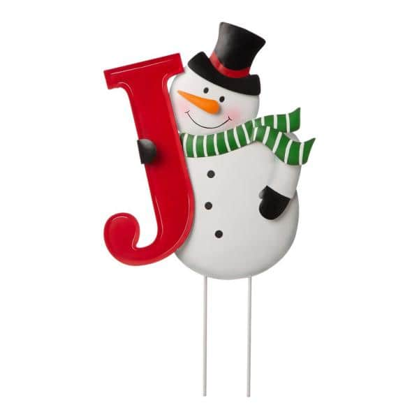 Glitzhome 48 23 In H Metal Vertical Joy Snowman Yard Stake Or Horizontal Snowmen Family Stake Kd Two Functions 2010200004 The Home Depot