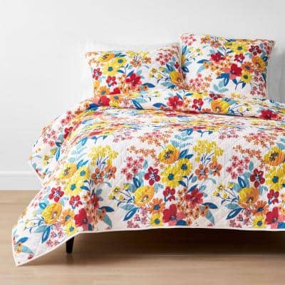 Krina Multicolored Floral Twin Cotton Quilt