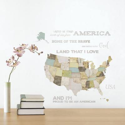 Multi-Colored US Map Peel and Stick Wall Decals (2-Sheets)