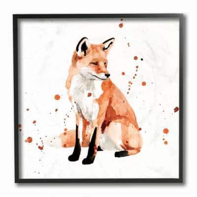 """""""Sitting Fox Watercolor Orange Animal Painting"""" by Victoria Borges Framed Abstract Wall Art 12 in. x 12 in."""