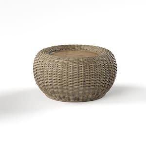 Towne 38 in. Brown Medium Round Wood Coffee Table