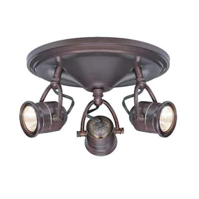 3-Light Antique Bronze Round-Base Pinhole Ceiling Fixture