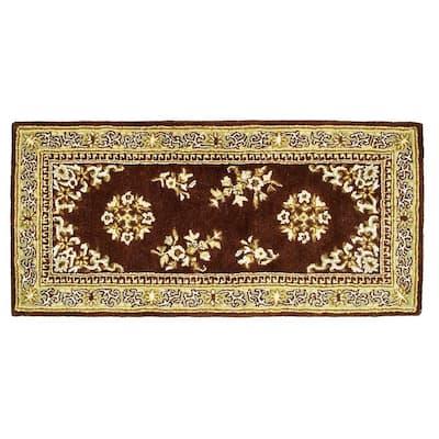 Oriental Rectangular Hearth Rug, 56 Inch Long, Coffee