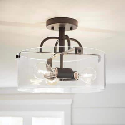 Shirwell 3-Light Bronze Semi-Flush Mount with Clear Glass Shade