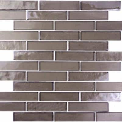 Landscape Grand Canyon Bronze Linear Mosaic 1 in. x 4 in. Translucent Glass Wall & Pool Tile (12.48 Sq. Ft./Case)