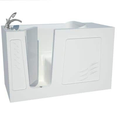 Builder's Choice 60 in. Left Drain Quick Fill Walk-In Soaking Bath Tub in White