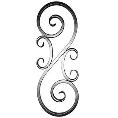 30-1/4 in. x 11-3/8 in. x 3/4 in. Wrought Iron Square Hollow Tube with Forged Ends Raw Forged S-Scroll