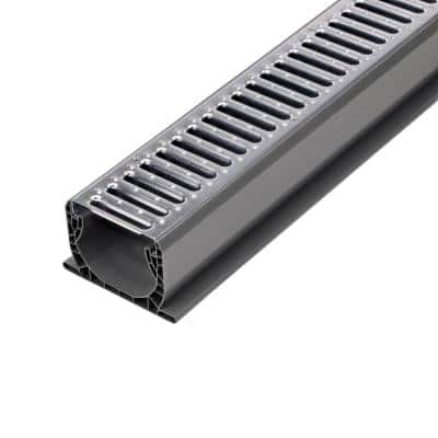 4 in. x 10 ft. PVC Speed-D Drainage Channel Drain with Metal Grate